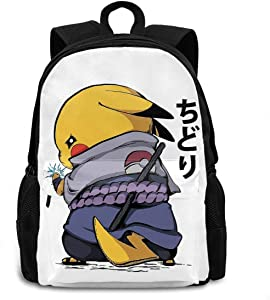 Poke-mon Pikachu Chidori Naruto Backpack Unisex Hiking Travel School Gym School Bag