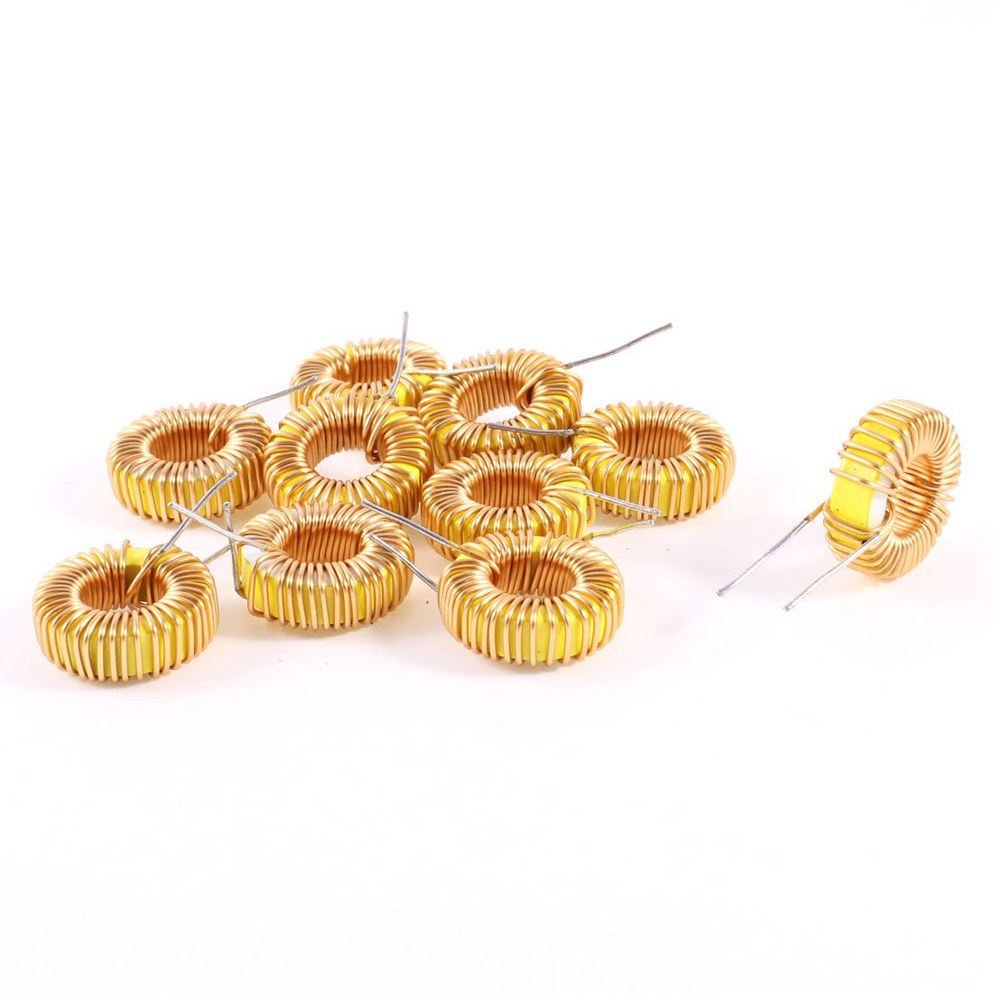 uxcell 10 Pcs Toroid Core Inductor Wire Wind Wound 68uH 39mOhm 3A Coil