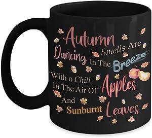 PixiDoodle Poem Autumn Coffee Mug - Thanksgiving Apple Fall Leaves (11 oz, Black)