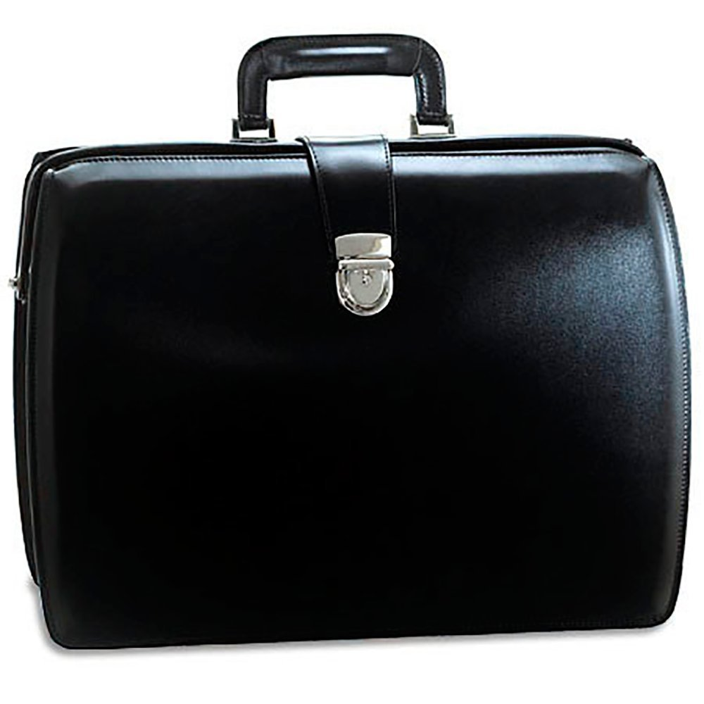 Jack Georges Mens [Personalized Initials Embossing] Elements Classic Leather Briefcase in Black