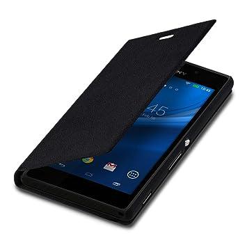 kwmobile Funda compatible con Sony Xperia M2 - Carcasa con [tapa tipo libro] - Case protector en [negro]