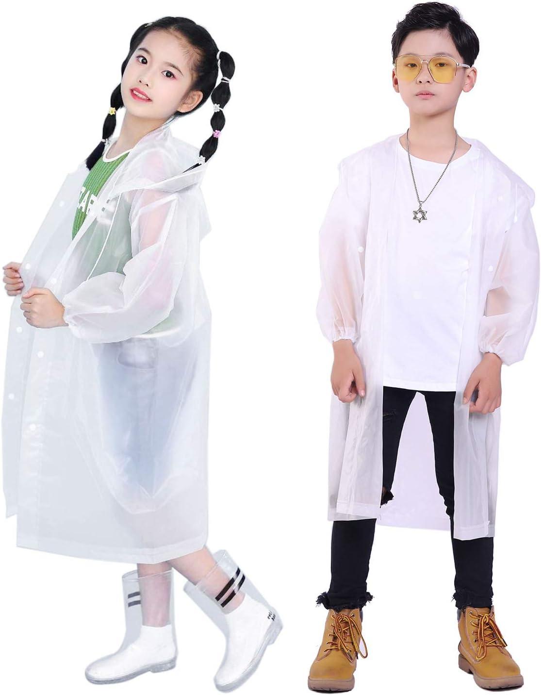 Gorain Pro Raincoat for Adults, EVA Rain Coats Reusable Rain Poncho and One Reusable Bag with Hood and Long Sleeves Pack of 2