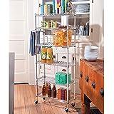 6 shelf pantry rack - 6 Shelf Mobile Rolling Kitchen Pantry Storage Cart Utility Organization Adjustable Chrome
