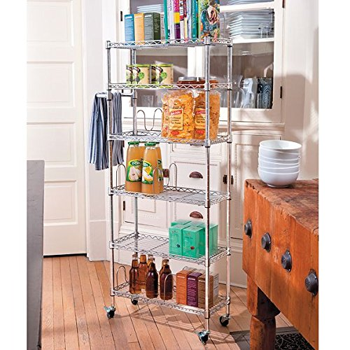 6 Shelf Mobile Rolling Kitchen Pantry Storage Cart Utility Organization Adjustable Chrome by Home Improvements