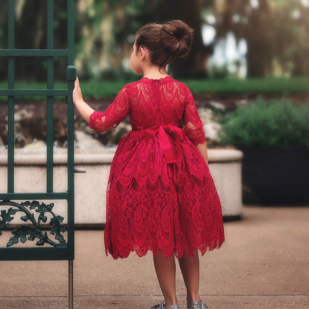 Kobay Kleinkind Kinder Baby m/ädchen Spitze Blume Prinzessin Tulle Party Pageant Kleider Kleidung 12-24M,Rot