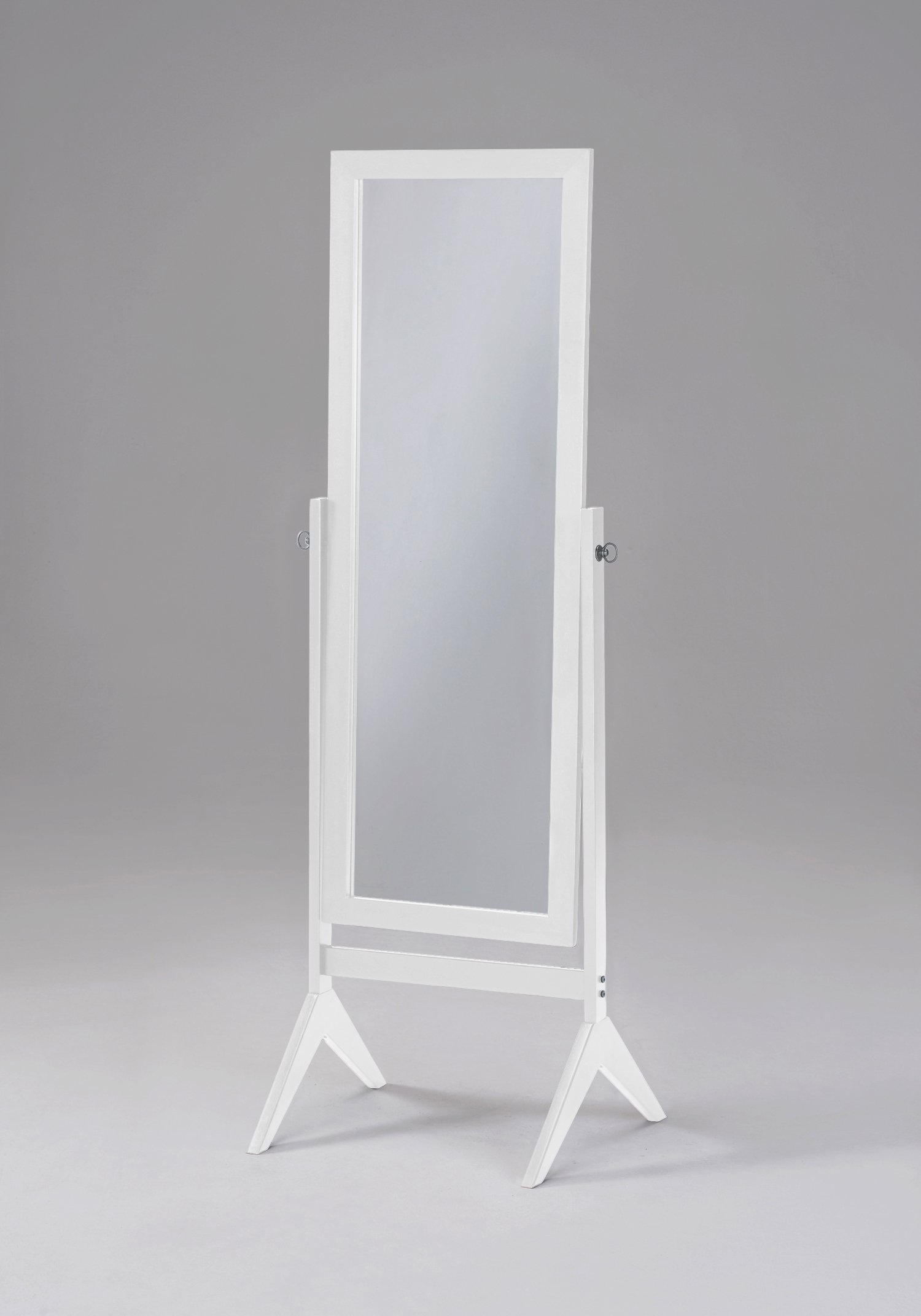 White Finish Wooden Cheval Bedroom Free Standing Floor Mirror (Cheval White) by eHomeProducts