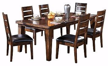 ashley furniture signature design larchmont dining room table old world style burnished dark - Dark Dining Room Table