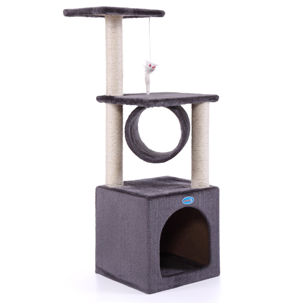 LAZYMOON 36'' Deluxe Cat Tree Kitten Condo Furniture Toy Pet Play House Grey