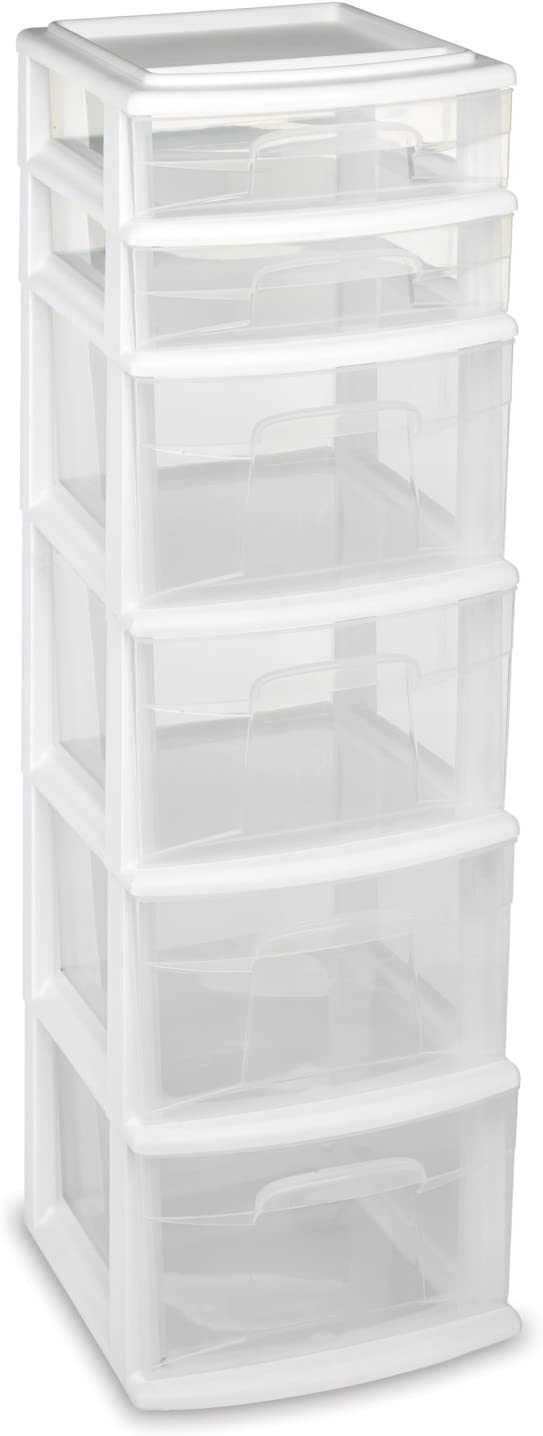HOMZ Plastic 6 Drawer Medium Storage Tower, White Frame, Clear Drawers, Set of 1