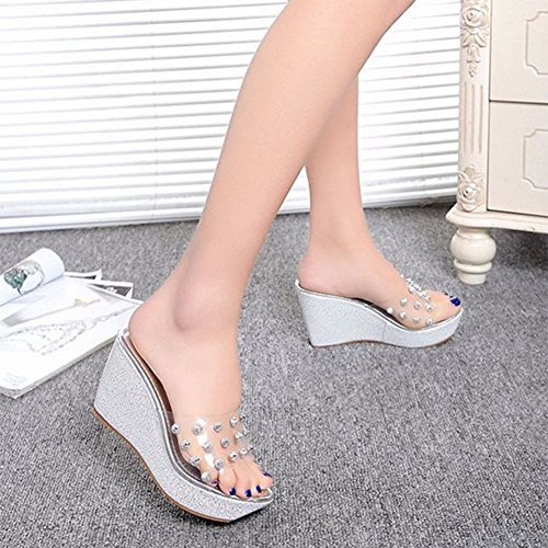 Sandals Summer Slope With Cool Slippers High-Heeled Shoes With Rhinestone Thick-Bottomed Waterproof Platform Flip Flops,Silver,38 Silver