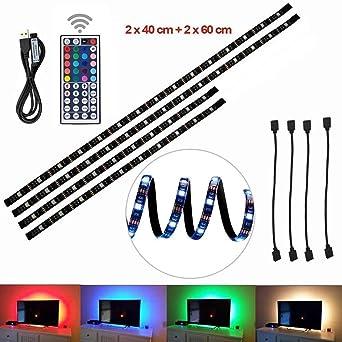 Ruban LED Rétroéclairage TV, éclairage USB Bias 2x40cm+2x60cm Avec 5V USB  Câble et ee9fc010aa61
