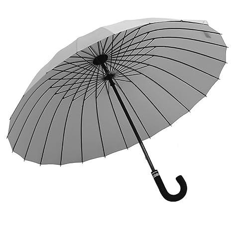 Guoke 24 Hueso Doble Extra Grande Y Soleado Color Sólido Paraguas Paraguas De Mango Largo Viento