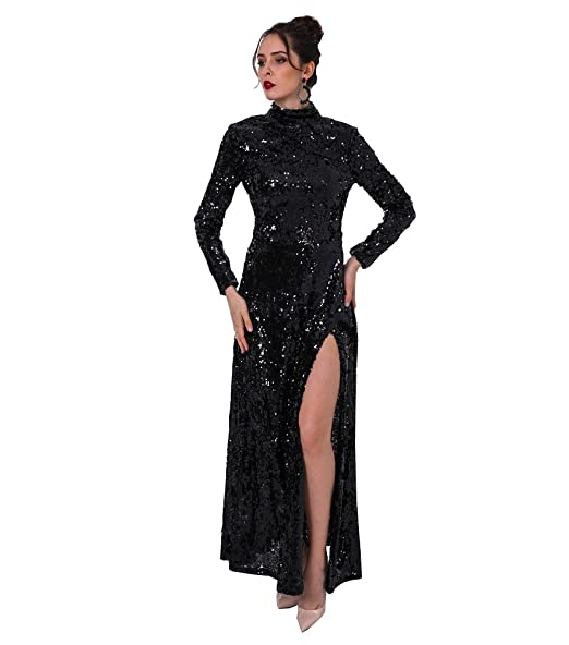Missord 2017 High Neck Long Sleeve Backless Sequin Dresses Women Sexy High  Split Maxi Party Dress FT8876 60ea995c33a4
