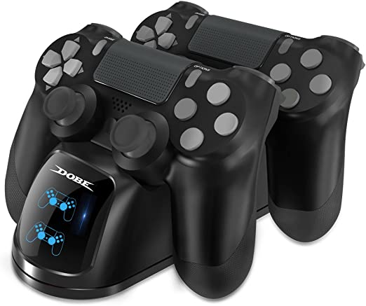 DOBE Cargador Mando para PS4 , Estación de carga DualShock 4, Cargador USB con Soporte Indicador del LED para Playstation 4, PlayStation 4 Slim and PlayStation 4 Pro Gamepad: Amazon.es: Videojuegos