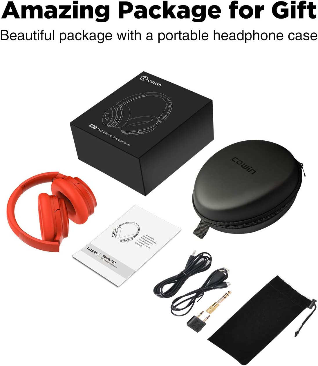 cowin SE7 Active Noise Cancelling Headphones Bluetooth Headphones Wireless Headphones Over Ear with Mic Aptx Comfortable Protein Earpads 50H Playtime Foldable Headphones for Travel Work Wine