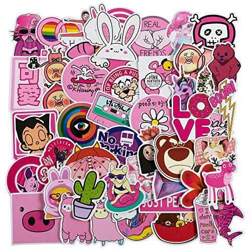Girls Stickers - Cute Pink Cool Stickers for Personalize Water Bottle Car Helmet Skateboard Luggage Bike Bumper Notebook Laptop Waterproof Graffiti -(50PCS)