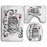 3 Piece Non-Slip Bathroom Rugs Poker Ace Of Hearts Tigers Set Living Room Anti-skid Pads Bath Mat + U Shaped Contour Rug + Toilet Lid Cover