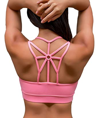 b5d7c68638868 YIANNA Ladies Sports Bra High Impact Breathable Comfort Criss Cross Strappy  Wirefree Yoga Bra with Removable
