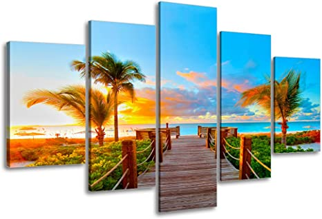 Amazon Com Tropical Beach Painting Decor Sz 5 Piece Palm Tree Sunset Picture Canvas Wall Art Ocean Canvas Prints For Living Room Ready To Hang 1 Deep Waterproof Big Large Size Posters
