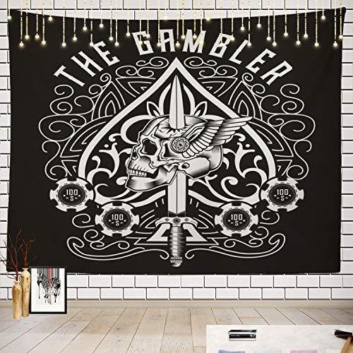 Batmerry Skull Tapestry, Skull Ace of Spades Picnic Mat Beach Towel Wall Art Decoration for Bedroom Living Room Dorm]()