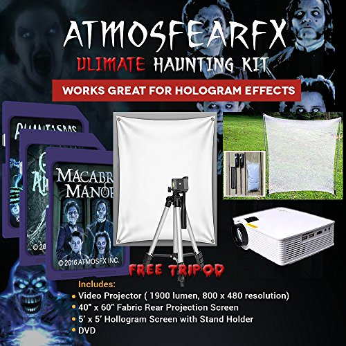 Amosfearfx Ghostly Apparitions, Phantasms And Macabre Manor Video, Ultimate Projector Bundle.Includes Projector, 3 SD Cards, Translucent Window Screen And Hologram Screen Stand Kit. -