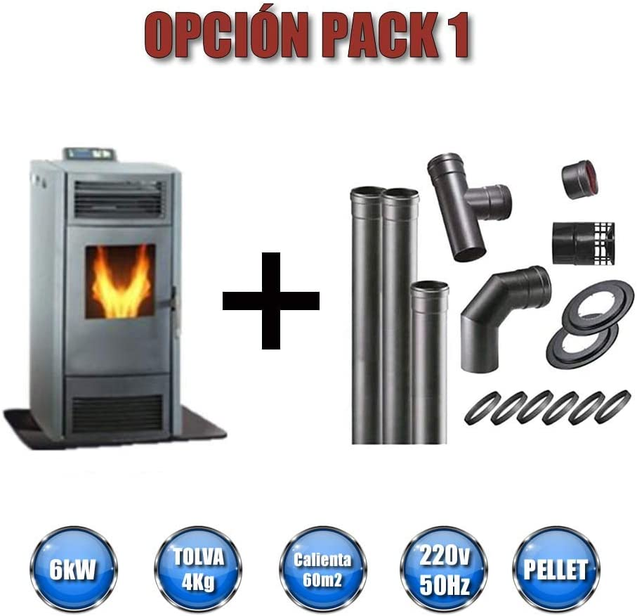 FUJISOL Kit Completo Estufa de pellets más tubería Salida de Humos 80mm.