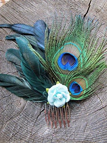 'Empress' - Flower Hair Comb, Peacock Hair Comb, Feather Hair Accessories, Bridal Hair Accessories, Wedding Hair Comb