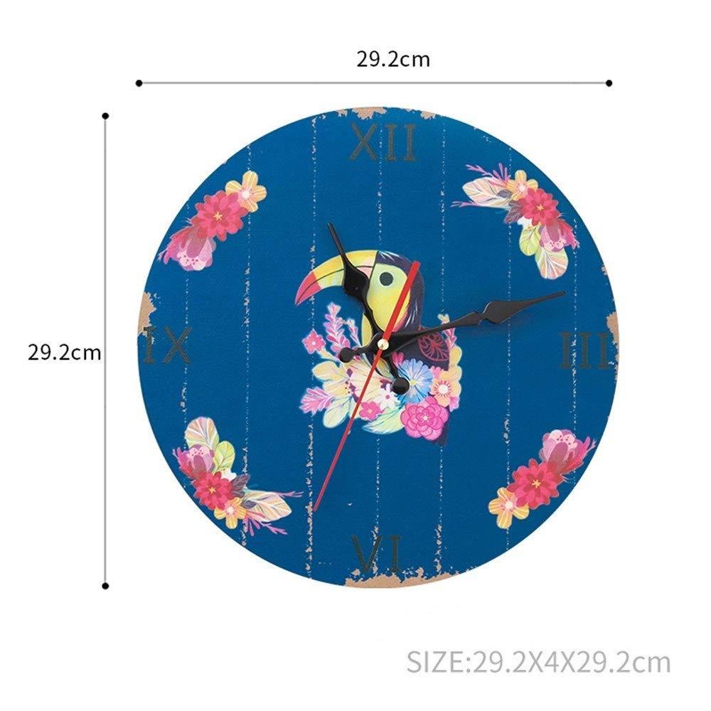 壁掛け時計 時計 壁掛け 連続秒針 掛け時計 ヨーロッパ 農家スタイル シンプル ミュート リビング ルーム バー 装飾 雰囲気 可愛い (PATTERN : Woodpecker)   B07RN7TZBB