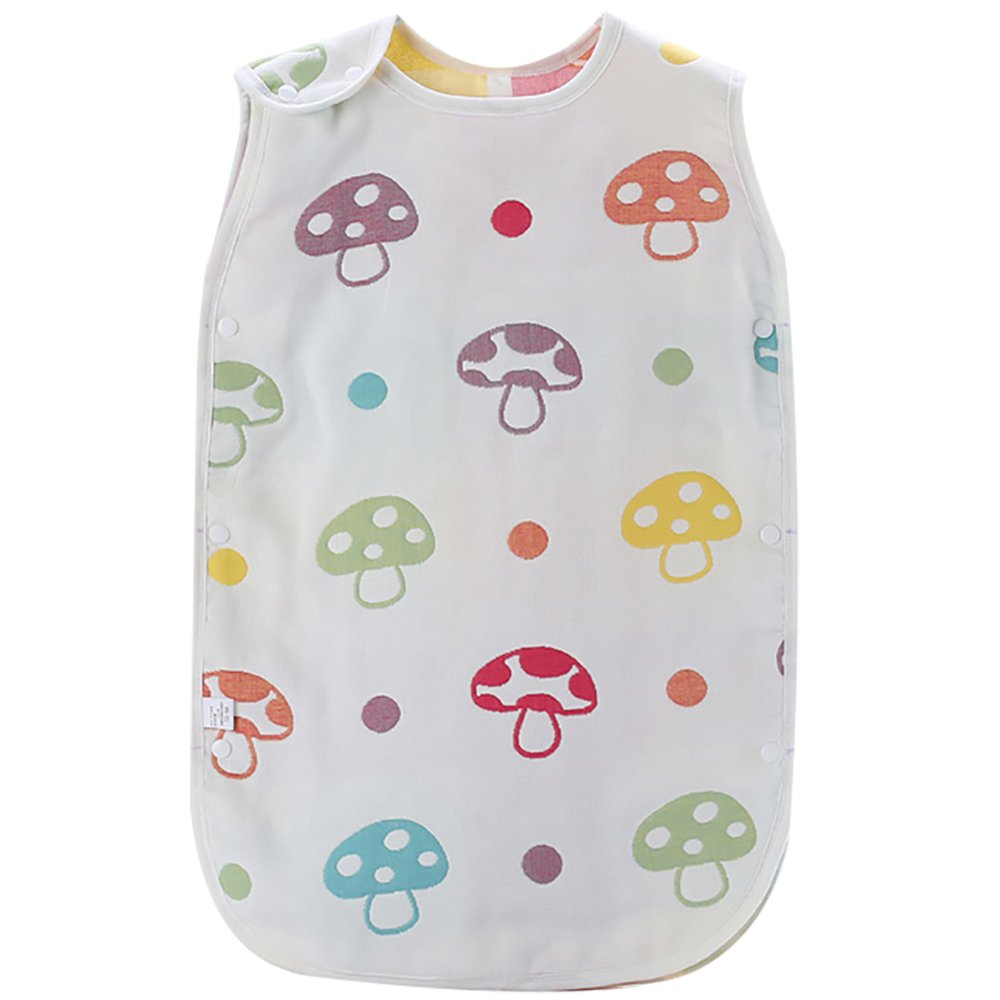 Luyus Baby Sleepingバッグカラフルなマッシュルームパターン、6 Layeredコットン、通気性&ソフト。 S ホワイト B071JTC4R4 Small  Small