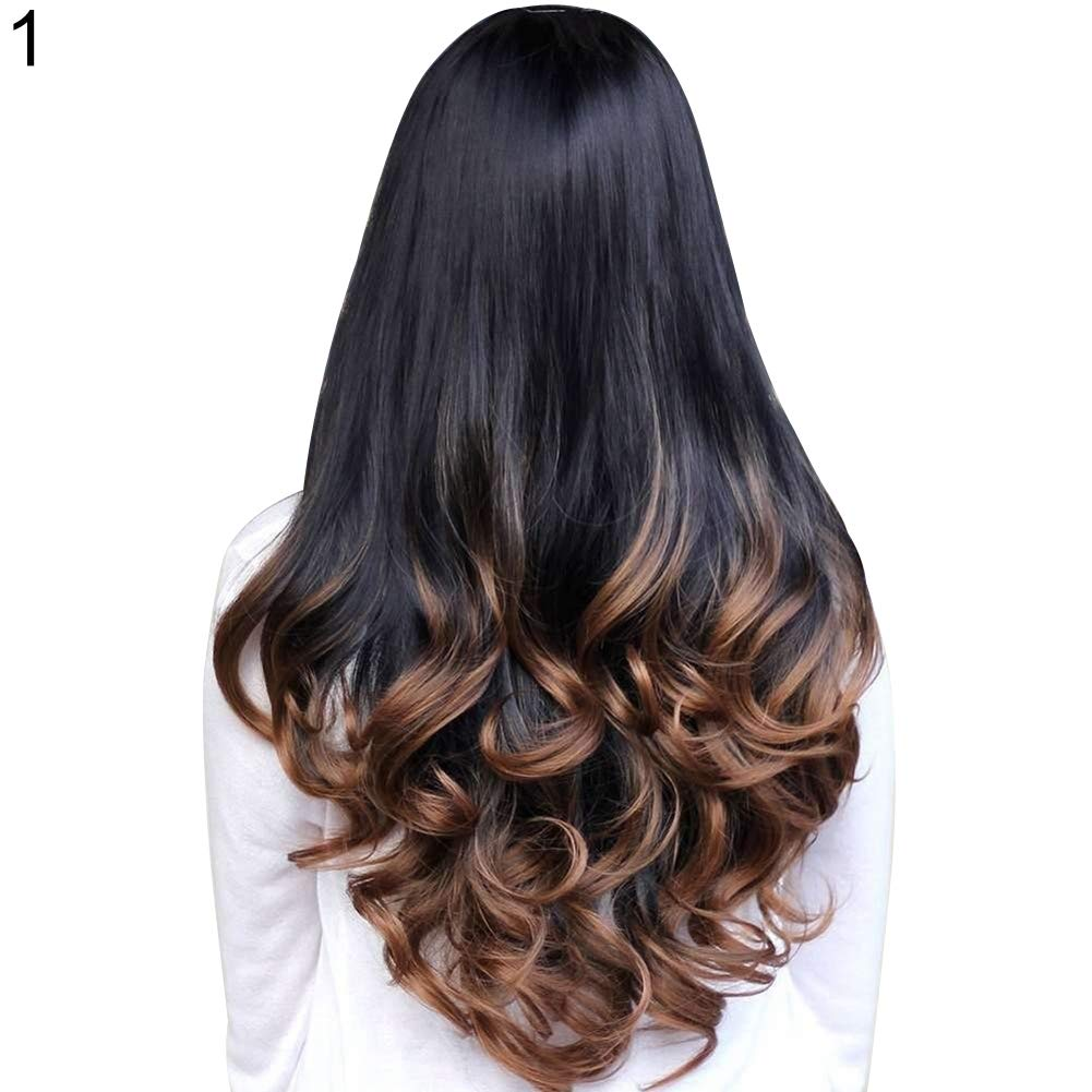 Wigs for Women gLoaSublim, Big Wave Long Curly Wavy Gradient Color Ombre Three-forth Full Hair Wig - Purple