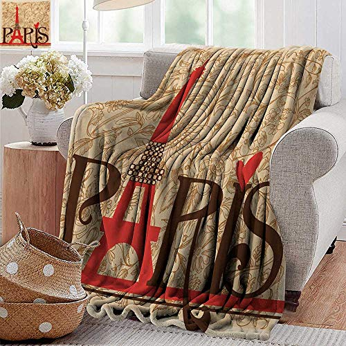 Sheets Postcard 100 Pearl - PearlRolan Flannel Throw Blanket,Vintage,Paris Vintage Floral French Eiffel Tower City Holiday Stylish Postcards Gifts,Red Brown Ecru,Super Soft and Warm,Durable Throw Blanket 60