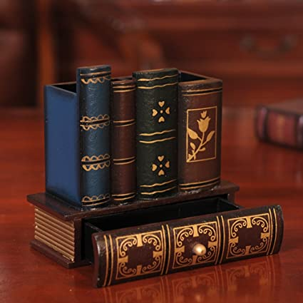 YOURNELO Antique Books Pen Pencil Holder Desk Organizer with Drawer - Amazon.com : YOURNELO Antique Books Pen Pencil Holder Desk Organizer