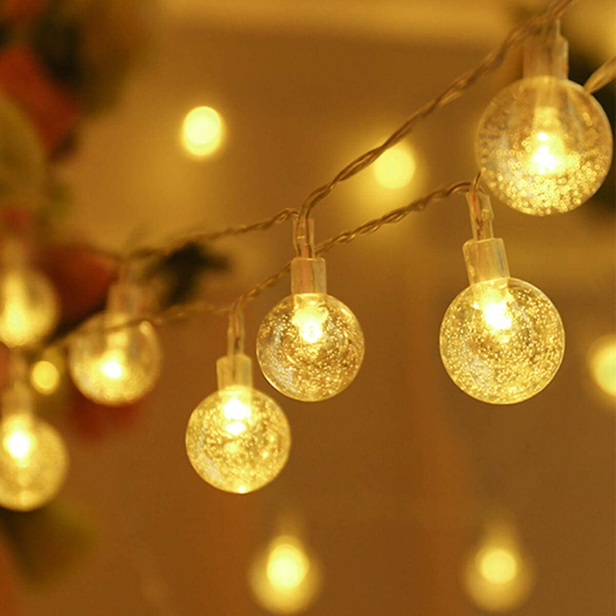 ALOVECO Battery Operated LED String Lights, 14.8ft 40 Globe String Lights,Waterproof Indoor Outdoor Ball Fairy String Lights, 8 Modes Decorative Lighting for Bedroom, Garden, Party(2 Pack)