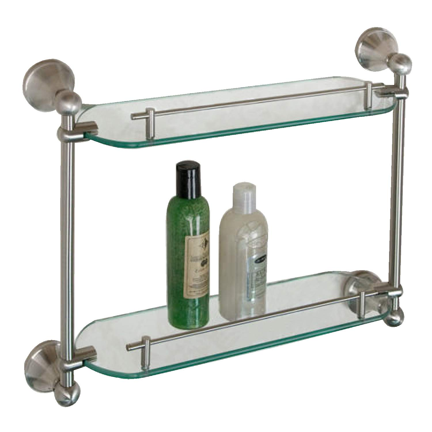 Naiture Collection Tempered Glass Shelf - Two Shelves in Brushed Nickel Finish