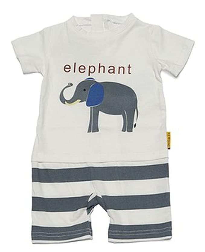 e9bae5166c29 Amazon.com  No More Unwanted Undressing! One-Piece Toddler Elephant Romper  with a Back Zipper in White Gray  Clothing