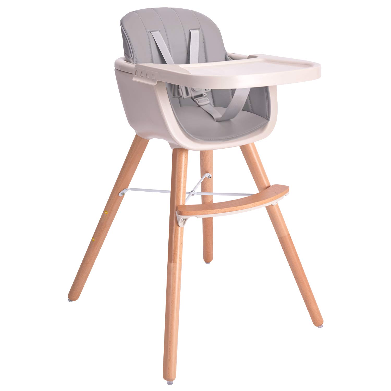 Baby High Chair, 3 in 1 Wooden High Chair with Removable Tray and Adjustable Legs for Baby/Infants/Toddlers by HM-tech