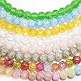 Nature Loose Round Bead Crystal Glass Gemstone Energy Healing Stone with Cord for Jewelry Making