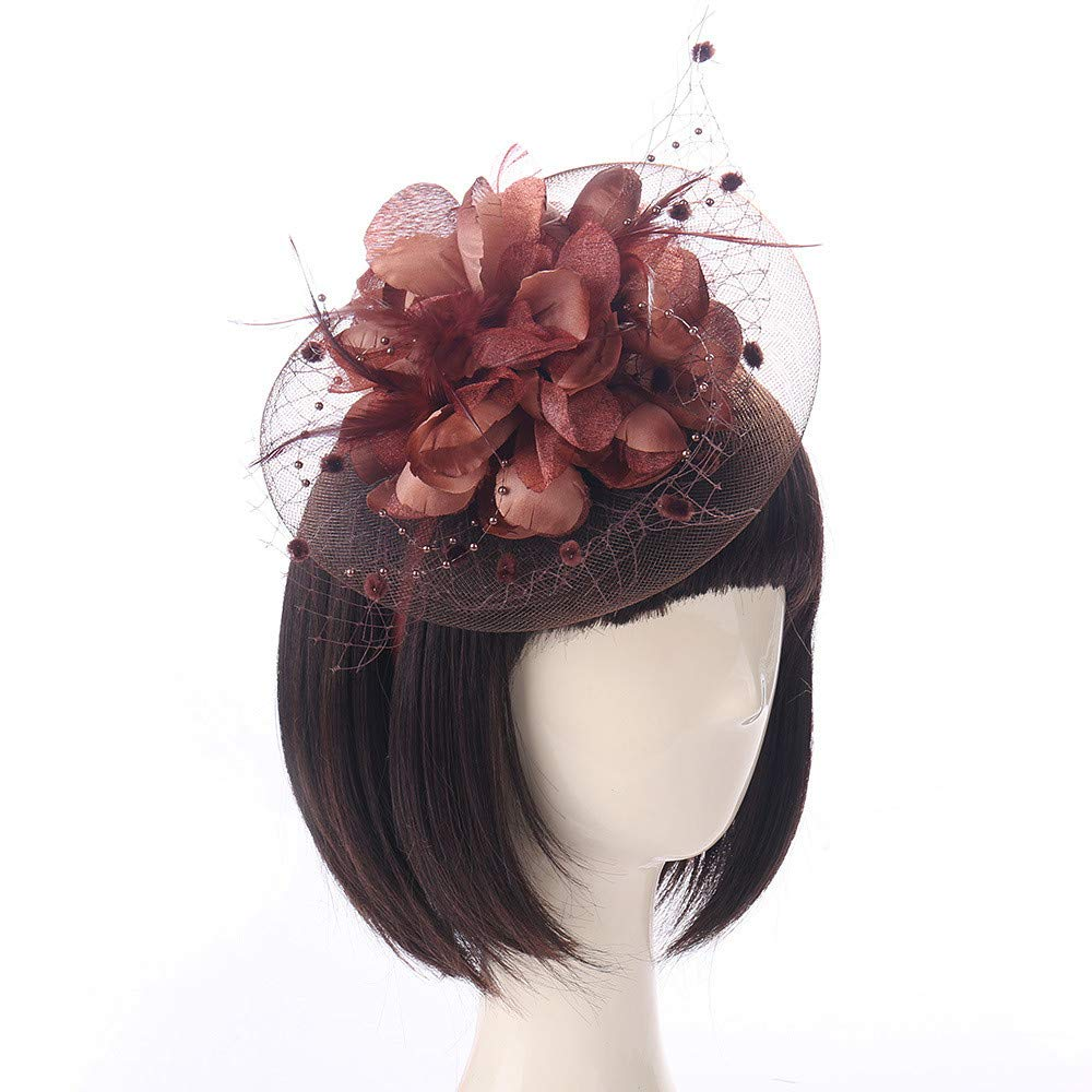 Nacome Cocktail Tea Party Headwear Feather Fascinators Top Hat for Girls and Women (Coffee)