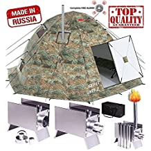 Winter Tent with Stove Pipe Vent. Outfitter Ice Hunting Fishing Camping Tent with Wood Stove. 4 Season Tent. Expedition Arctic Living Warm Tent. Army Military Tent. For Fishermen, Hunters and Outdoor Enthusiasts!