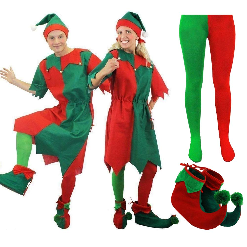 MENS & WOMENS CHEEKY ELF FANCY DRESS COSTUME. CHRISTMAS ELF COSTUME FOR MEN & WOMEN IN RED & GREEN WITH JINGLE BELLS…