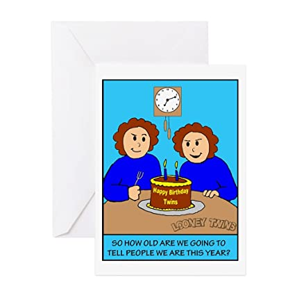 Amazon Cafepress Looney Twins How Old Greeting Card Note