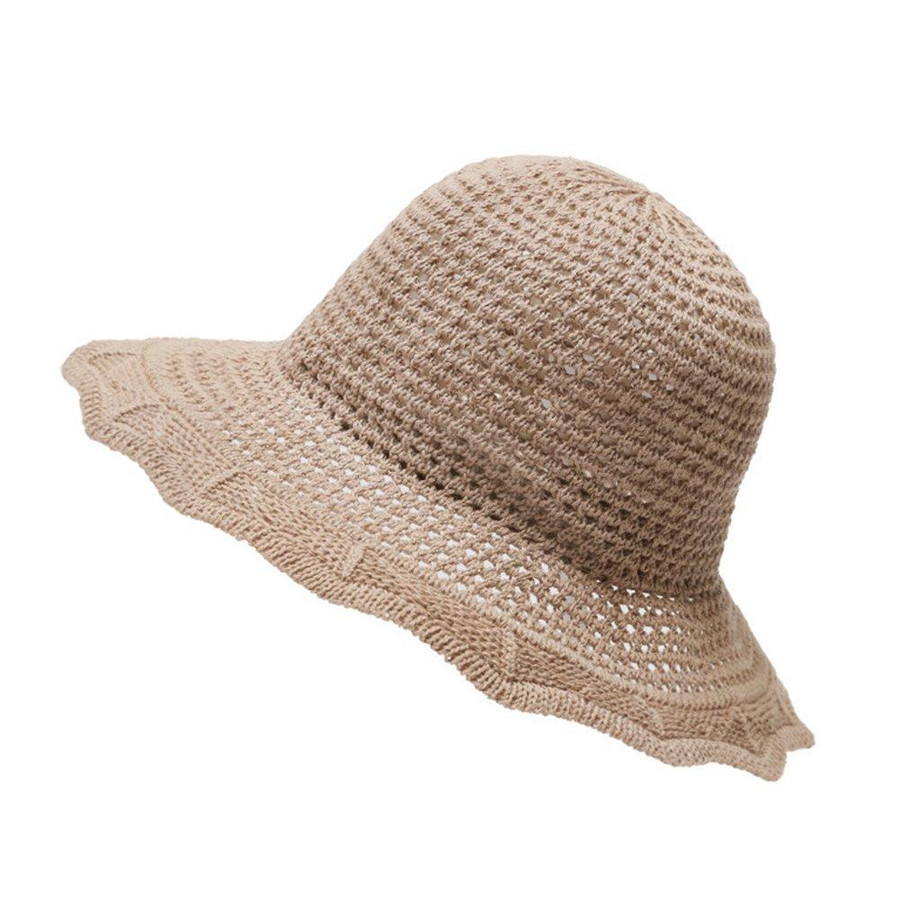 Red Foldable Summer Women Cotton Linen Sunhat Wide Brim Beach Outdoor Bucket Hat