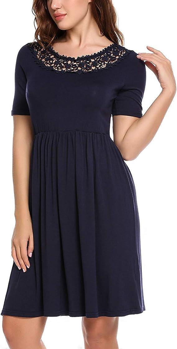Damen Sommerkleider Cocktailkleid Elegant Kleid Mit Spitze
