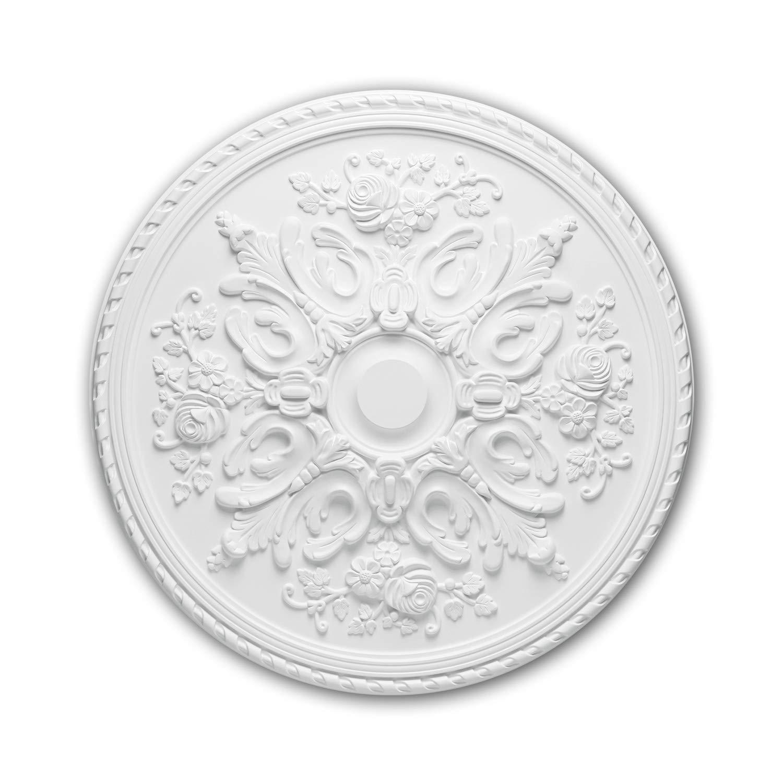 Rosace 156025 Profhome /Élement d/écorative /Élement pour plafond style Rococo-Baroque blanc /Ø 82 cm
