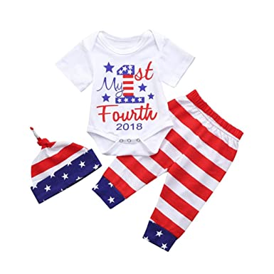 c8e4afaa4 Amazon.com: LNGRY Baby Clothes, Toddler Baby Boys 3Pcs 4th of July Star  Romper Top+Stripe Pants+Hat Outfits Set: Clothing