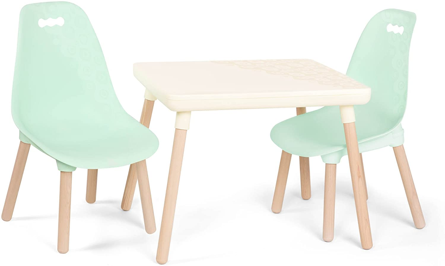 Amazon Com B Spaces By Battat Kids Furniture Set 1 Craft Table 2 Kids Chairs With Natural Wooden Legs Ivory And Mint Toys Games