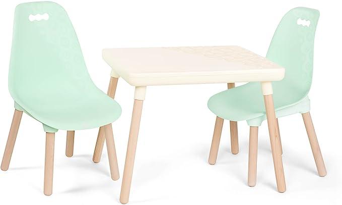 B. spaces by Battat Set tavolo e sedie per bambini, con gambe in legno naturale (avorio e menta), bianco, BX1866C1Z