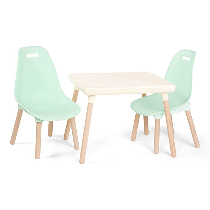 B. spaces by Battat BX1663Z – Kid-Century Modern: Trendy Kids Table and Chairs – 1 Table in and 2 Chairs in Mint – Kids Furniture Set for Toddlers – and Mint, Ivory
