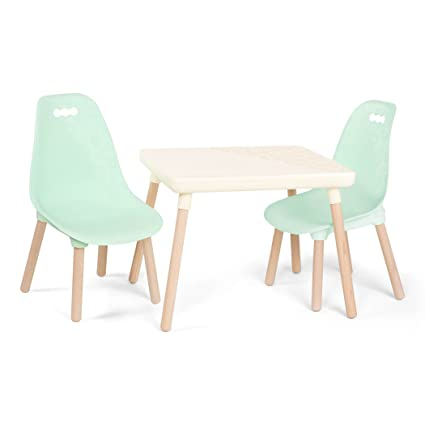 Pleasing B Toys Kids Furniture Set 1 Craft Table 2 Kids Chairs With Natural Wooden Legs Ivory And Mint Squirreltailoven Fun Painted Chair Ideas Images Squirreltailovenorg