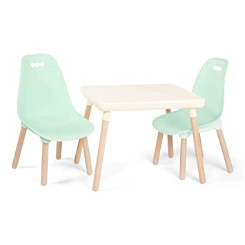 Awesome B Spaces Kid Century Modern Table Chairs Furniture Set Kid Sized Trendy Table In Ivory And 2 Cozy Chairs In Soft Mint Pabps2019 Chair Design Images Pabps2019Com